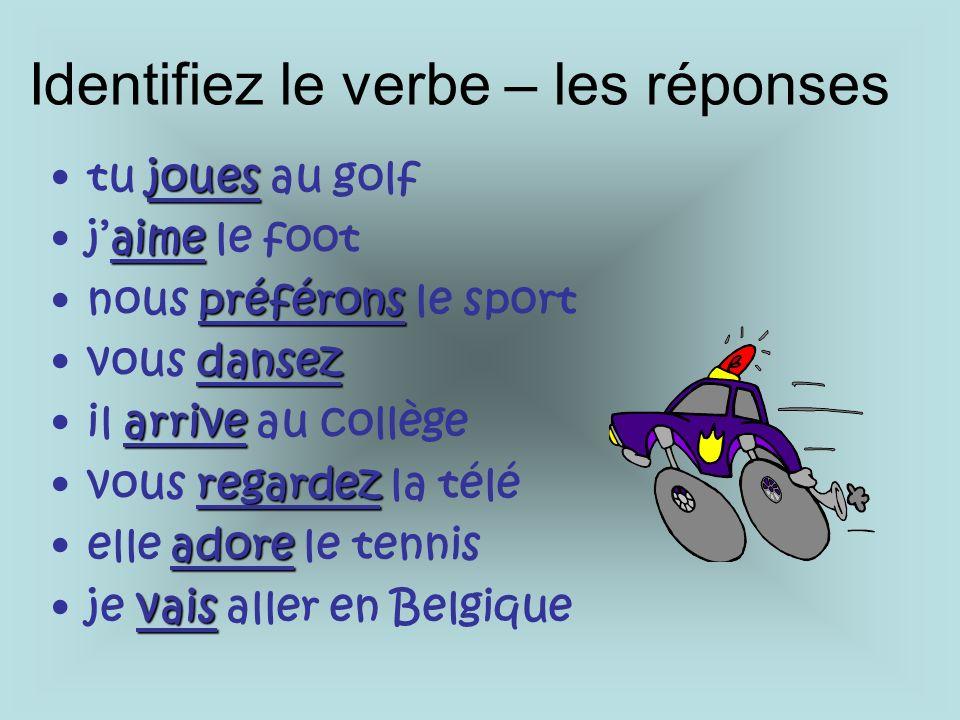 jouestu joues au golf aimejaime le foot préféronsnous préférons le sport dansezvous dansez arriveil arrive au collège regardezvous regardez la télé adoreelle adore le tennis vaisje vais aller en Belgique Identifiez le verbe – les réponses
