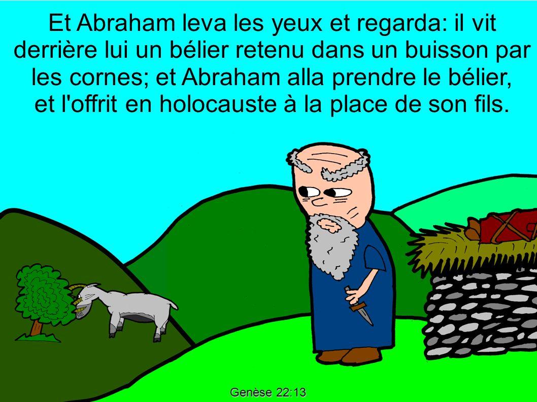 Genèse 22:13 Et Abraham leva les yeux et regarda: il vit derrière lui un bélier retenu dans un buisson par les cornes; et Abraham alla prendre le béli