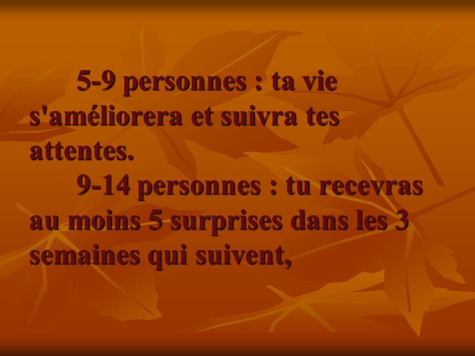 5-9 personnes : ta vie s'améliorera et suivra tes attentes. 9-14 personnes : tu recevras au moins 5 surprises dans les 3 semaines qui suivent, 5-9 per