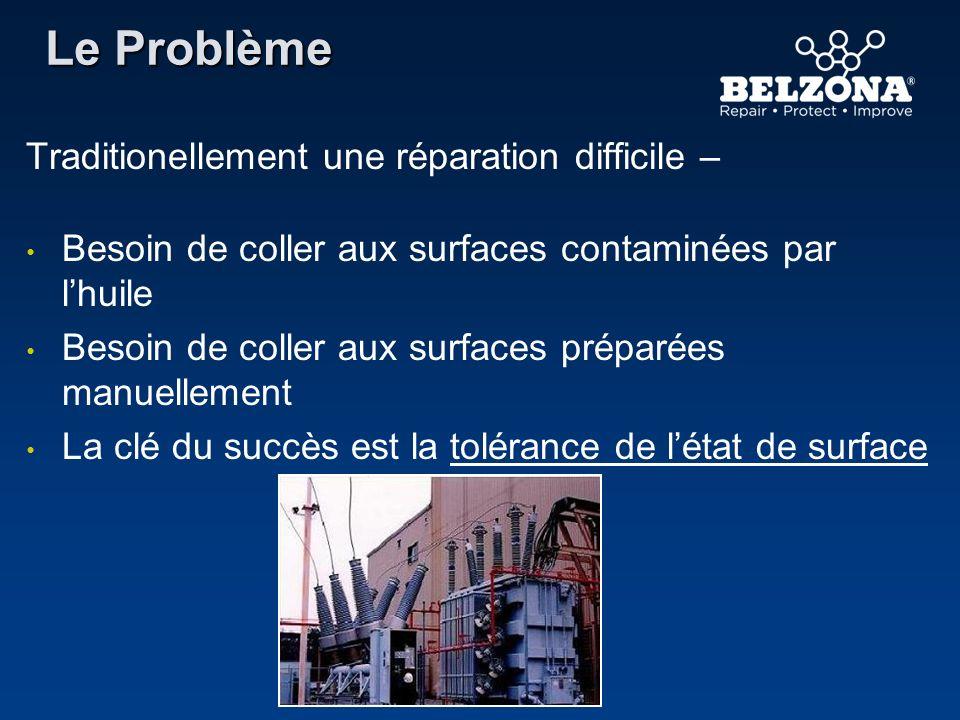 Traditionellement une réparation difficile – Besoin de coller aux surfaces contaminées par lhuile Besoin de coller aux surfaces préparées manuellement