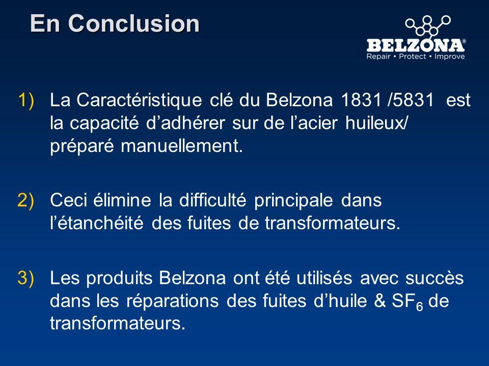 En Conclusion 1) 1)La Caractéristique clé du Belzona 1831 /5831 est la capacité dadhérer sur de lacier huileux/ préparé manuellement. 2) 2)Ceci élimin
