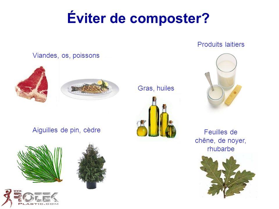 Éviter de composter? Gras, huiles Produits laitiers Aiguilles de pin, cèdre Feuilles de chêne, de noyer, rhubarbe Viandes, os, poissons