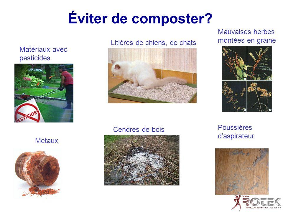 Éviter de composter? Mauvaises herbes montées en graine Poussières daspirateur Matériaux avec pesticides Cendres de bois Litières de chiens, de chats