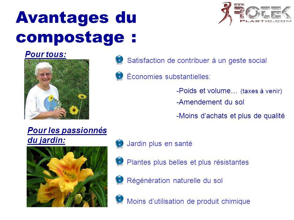 Avantages du compostage : Pour tous: Satisfaction de contribuer à un geste social Économies substantielles: -Poids et volume… (taxes à venir) -Amendem