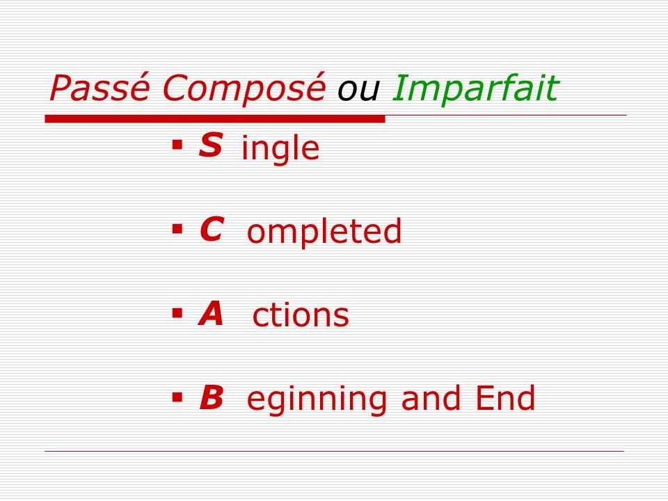 Passé Composé ou Imparfait S C A B ingle ompleted ctions eginning and End