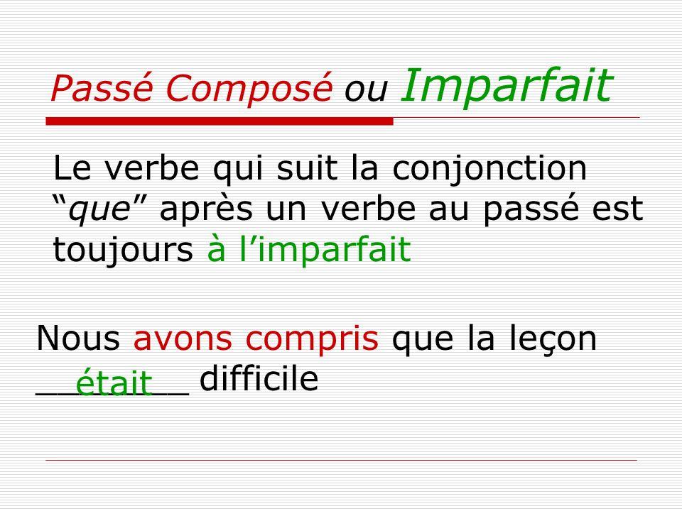 Passé Composé ou Imparfait Le verbe qui suit la conjonctionque après un verbe au passé est toujours à limparfait Nous avons compris que la leçon _____