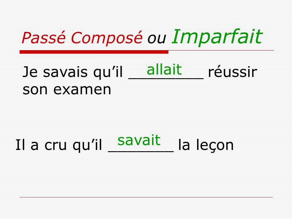Passé Composé ou Imparfait Je savais quil ________ réussir son examen Il a cru quil _______ la leçon savait allait