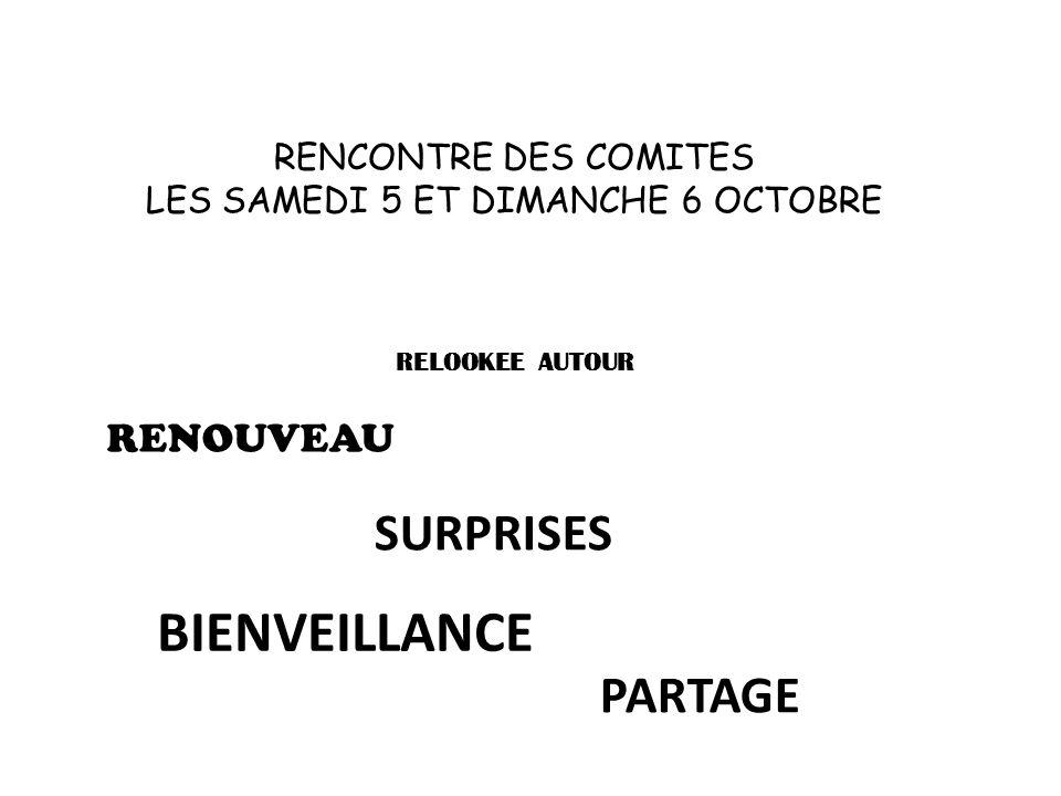 RENCONTRE DES COMITES LES SAMEDI 5 ET DIMANCHE 6 OCTOBRE RELOOKEE AUTOUR RENOUVEAU SURPRISES BIENVEILLANCE PARTAGE
