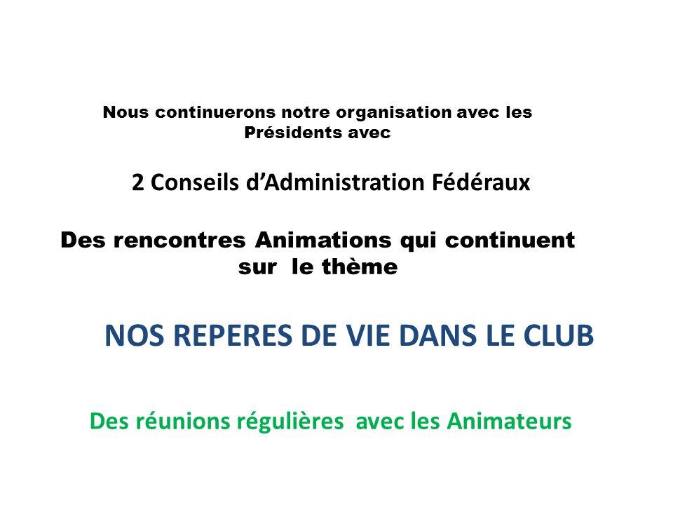 Nous continuerons notre organisation avec les Présidents avec 2 Conseils dAdministration Fédéraux Des rencontres Animations qui continuent sur le thème Des réunions régulières avec les Animateurs NOS REPERES DE VIE DANS LE CLUB
