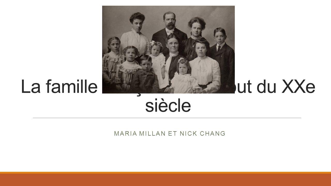La famille française au début du XXe siècle MARIA MILLAN ET NICK CHANG