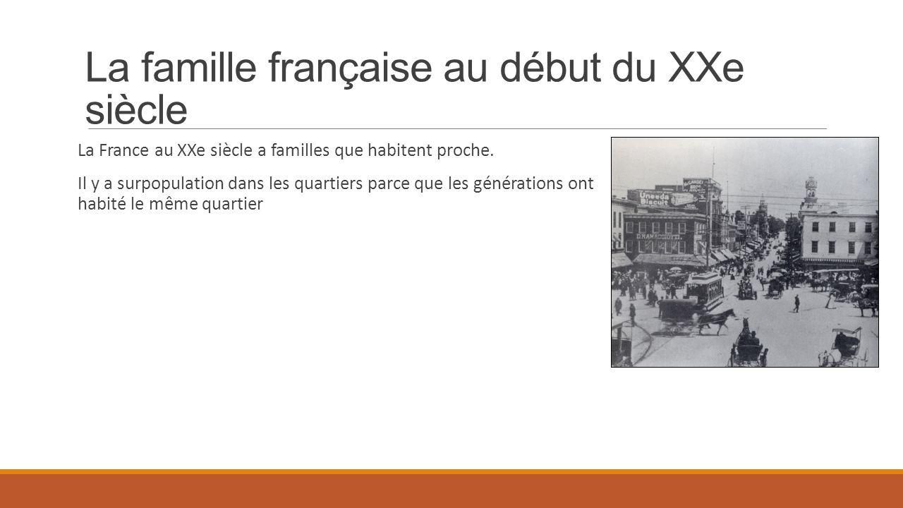 La famille française au début du XXe siècle La France au XXe siècle a familles que habitent proche. Il y a surpopulation dans les quartiers parce que