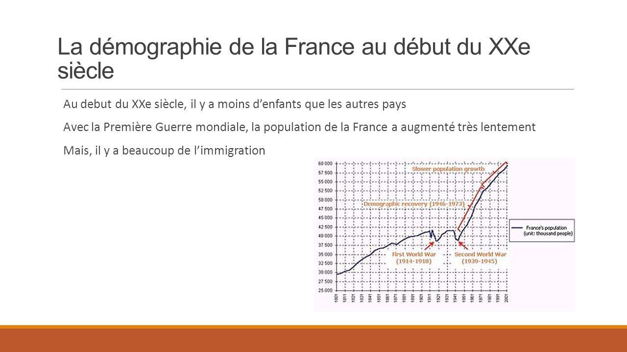 La démographie de la France au début du XXe siècle Au debut du XXe siècle, il y a moins denfants que les autres pays Avec la Première Guerre mondiale,