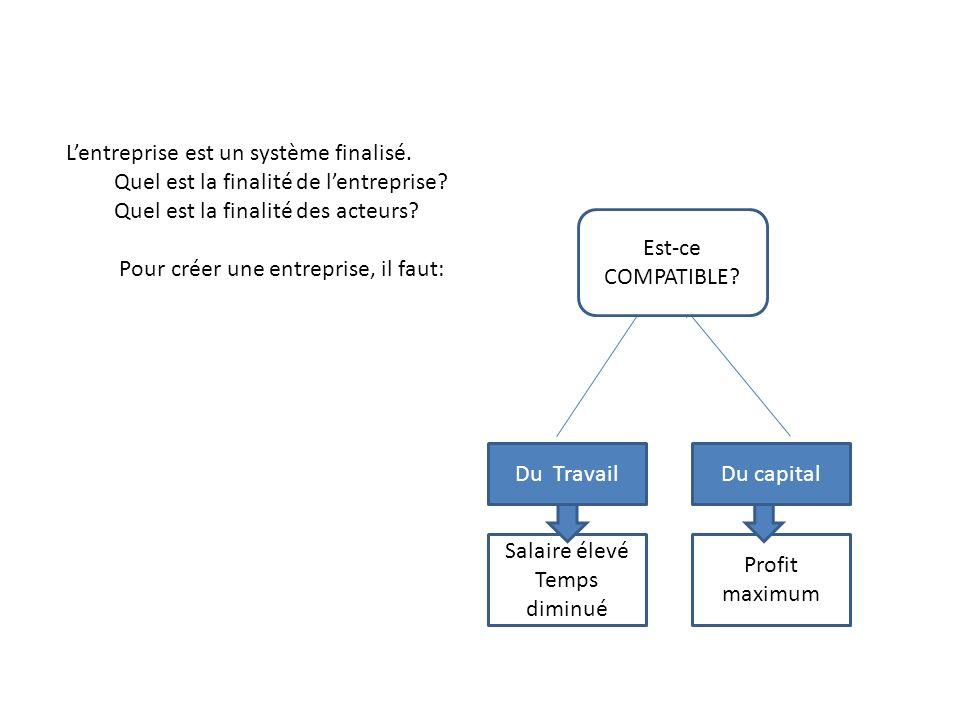 Lentreprise est un système finalisé. Quel est la finalité de lentreprise? Quel est la finalité des acteurs? Pour créer une entreprise, il faut: Du Tra