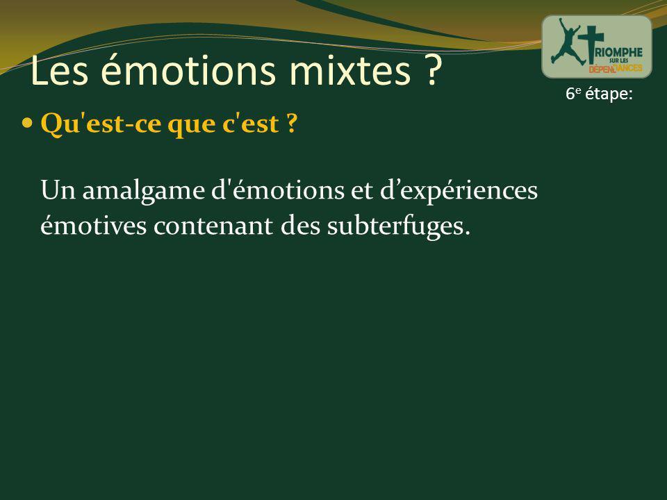 Les émotions mixtes ? Qu'est-ce que c'est ? Un amalgame d'émotions et dexpériences émotives contenant des subterfuges. 6 e étape: