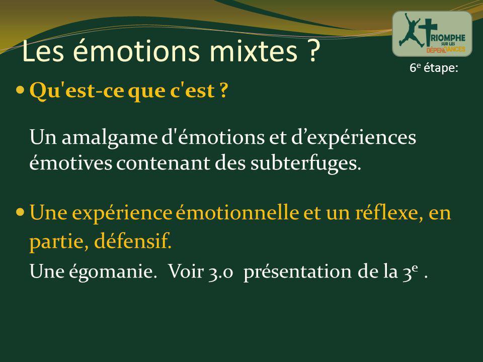 Les émotions mixtes ? Qu'est-ce que c'est ? Un amalgame d'émotions et dexpériences émotives contenant des subterfuges. Une expérience émotionnelle et