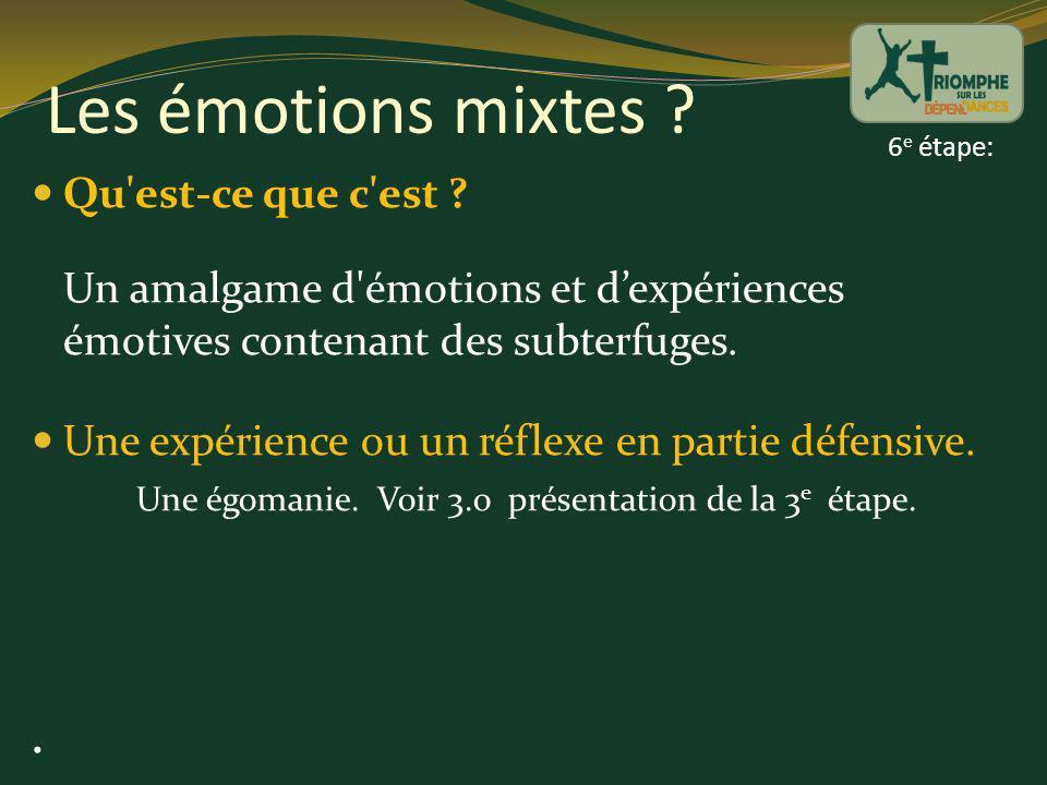 Les émotions mixtes ? Qu'est-ce que c'est ? Un amalgame d'émotions et dexpériences émotives contenant des subterfuges. Une expérience ou un réflexe en