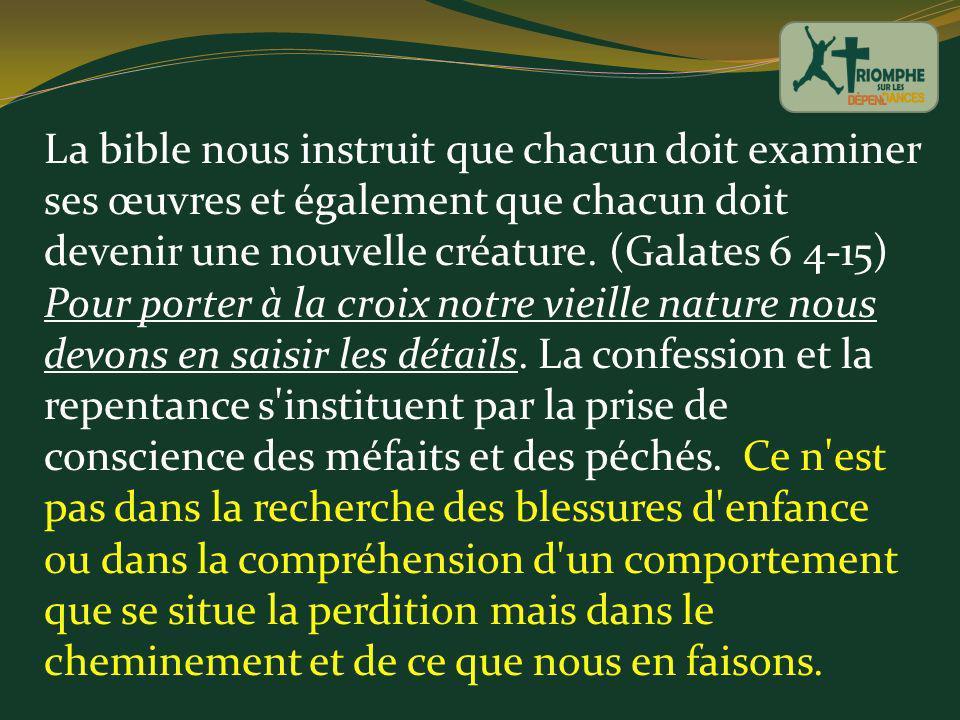 La bible nous instruit que chacun doit examiner ses œuvres et également que chacun doit devenir une nouvelle créature. (Galates 6 4-15) Pour porter à