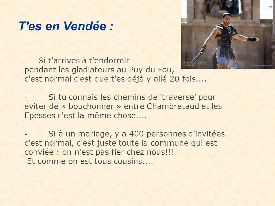 Si t arrives à t endormir pendant les gladiateurs au Puy du Fou, c est normal c est que t es déjà y allé 20 fois....
