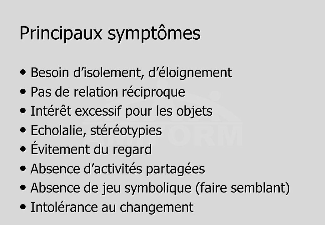 Principaux symptômes Besoin disolement, déloignement Besoin disolement, déloignement Pas de relation réciproque Pas de relation réciproque Intérêt exc