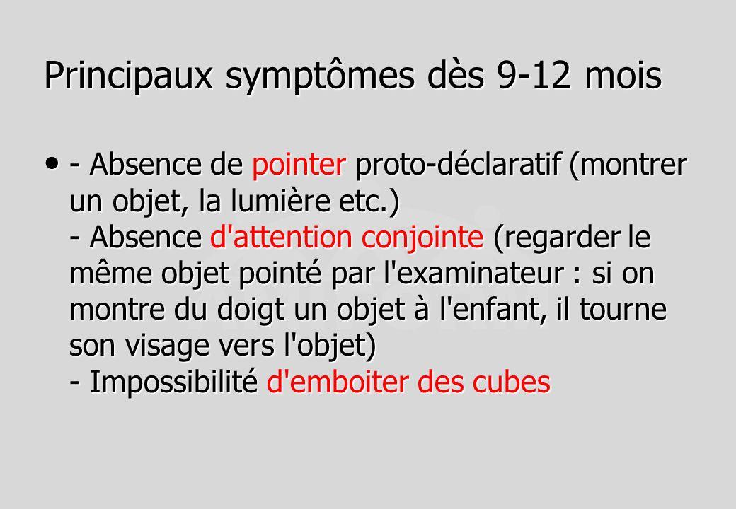 Principaux symptômes dès 9-12 mois - Absence de pointer proto-déclaratif (montrer un objet, la lumière etc.) - Absence d'attention conjointe (regarder