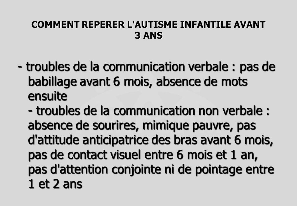 COMMENT REPERER L'AUTISME INFANTILE AVANT 3 ANS - troubles de la communication verbale : pas de babillage avant 6 mois, absence de mots ensuite - trou