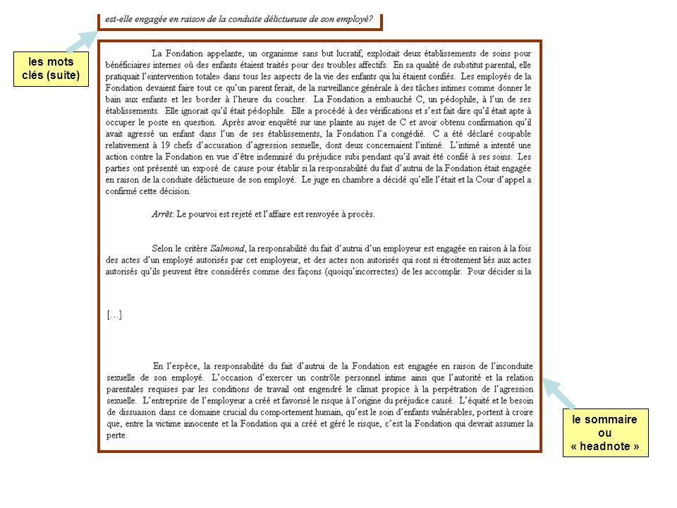 les mots clés (suite) […] le sommaire ou « headnote »