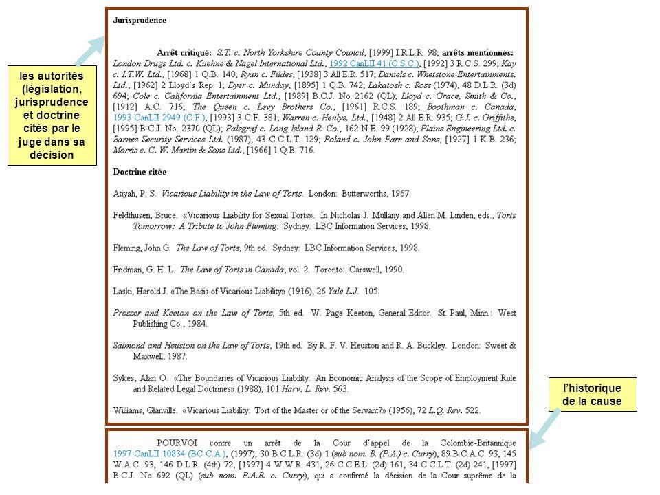 les autorités (législation, jurisprudence et doctrine cités par le juge dans sa décision lhistorique de la cause