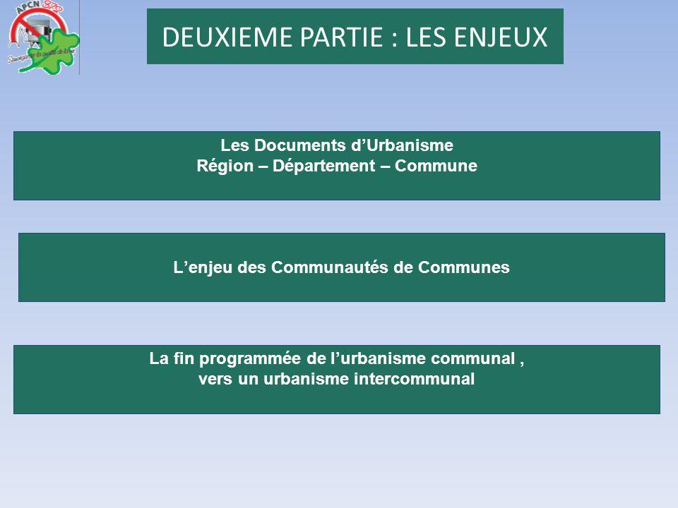 DEUXIEME PARTIE : LES ENJEUX Les Documents dUrbanisme Région – Département – Commune La fin programmée de lurbanisme communal, vers un urbanisme inter