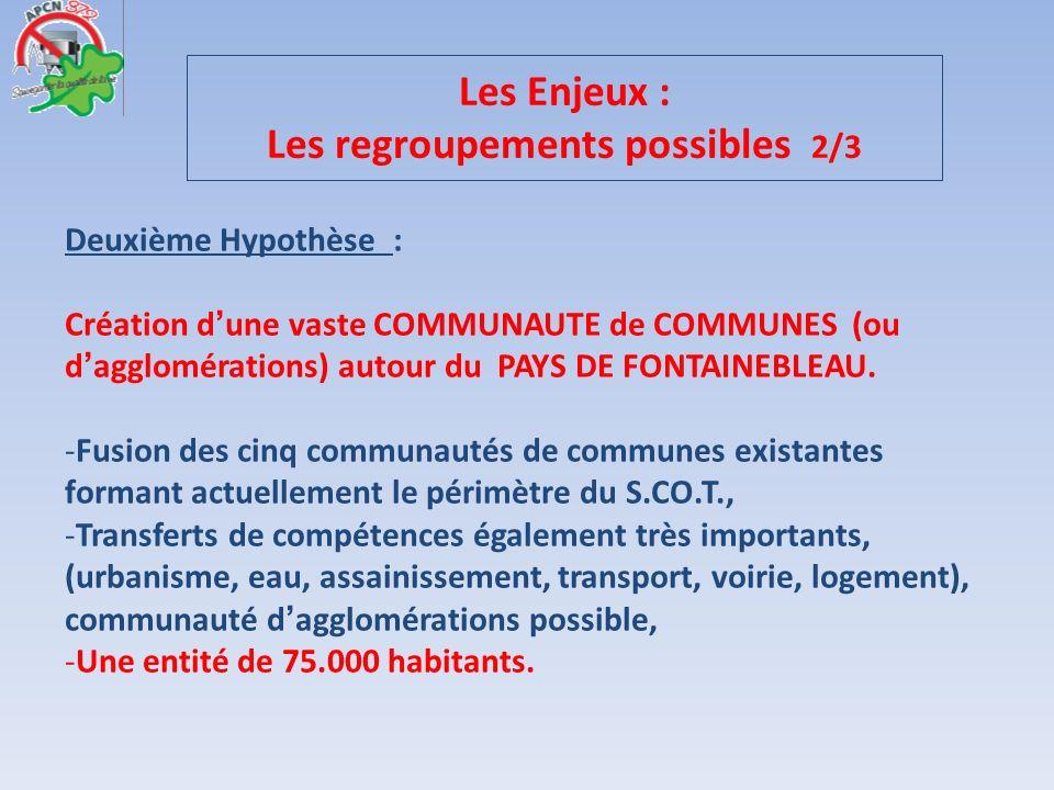 Deuxième Hypothèse : Création dune vaste COMMUNAUTE de COMMUNES (ou dagglomérations) autour du PAYS DE FONTAINEBLEAU. -F-Fusion des cinq communautés d
