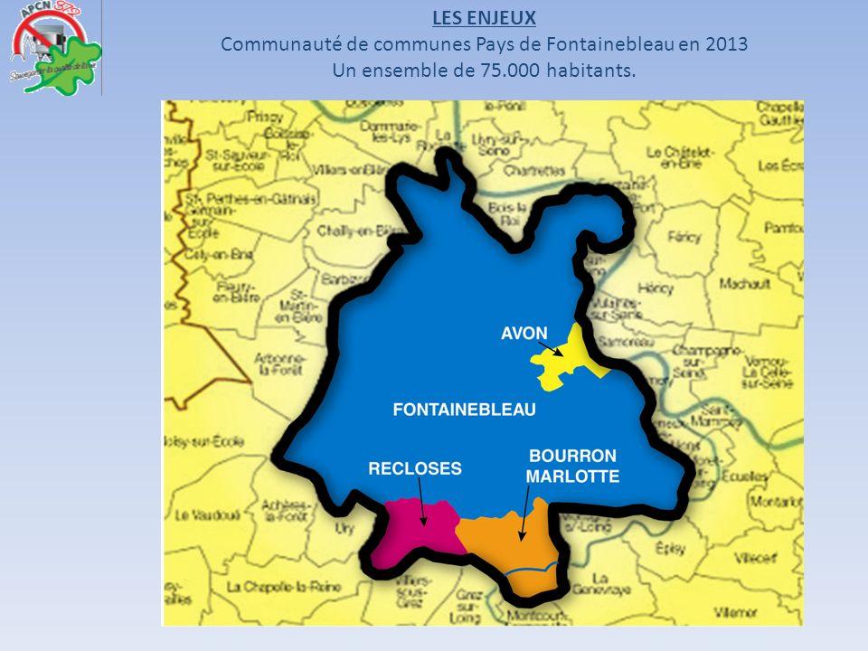 LES ENJEUX Communauté de communes Pays de Fontainebleau en 2013 Un ensemble de 75.000 habitants.