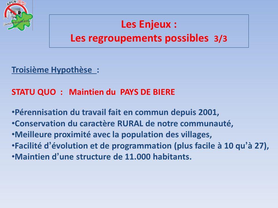 Troisième Hypothèse : STATU QUO : Maintien du PAYS DE BIERE Pérennisation du travail fait en commun depuis 2001, Conservation du caractère RURAL de no