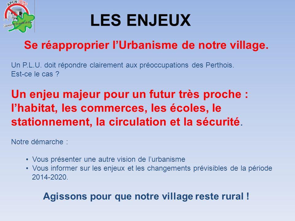 Se réapproprier lUrbanisme de notre village. Un P.L.U. doit répondre clairement aux préoccupations des Perthois. Est-ce le cas ? Un enjeu majeur pour