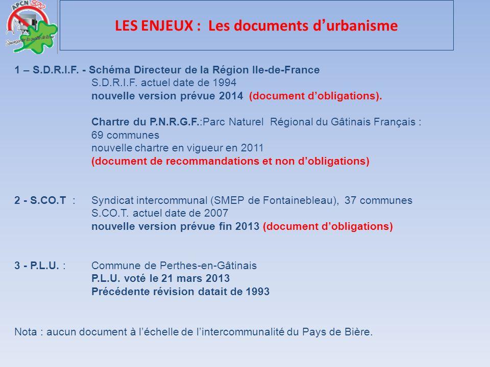 1 – S.D.R.I.F. - Schéma Directeur de la Région Ile-de-France S.D.R.I.F. actuel date de 1994 nouvelle version prévue 2014 (document dobligations). Char