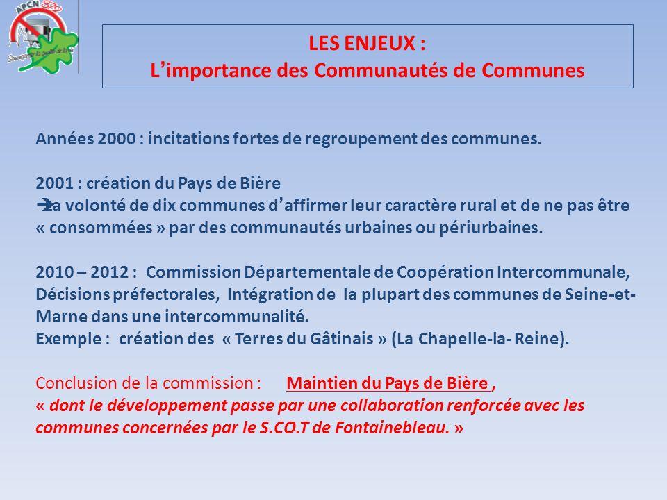 LES ENJEUX : Limportance des Communautés de Communes Années 2000 : incitations fortes de regroupement des communes. 2001 : création du Pays de Bière L