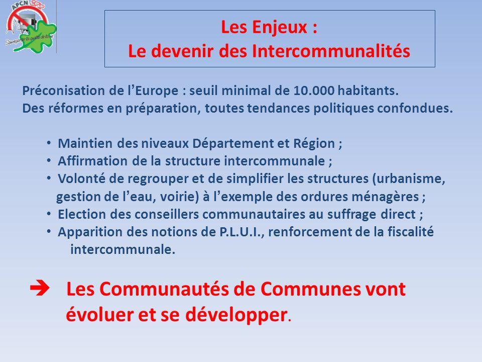 Les Enjeux : Le devenir des Intercommunalités Préconisation de lEurope : seuil minimal de 10.000 habitants. Des réformes en préparation, toutes tendan