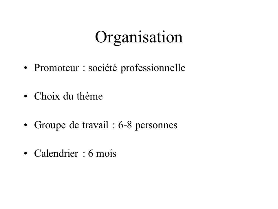 Organisation Promoteur : société professionnelle Choix du thème Groupe de travail : 6-8 personnes Calendrier : 6 mois