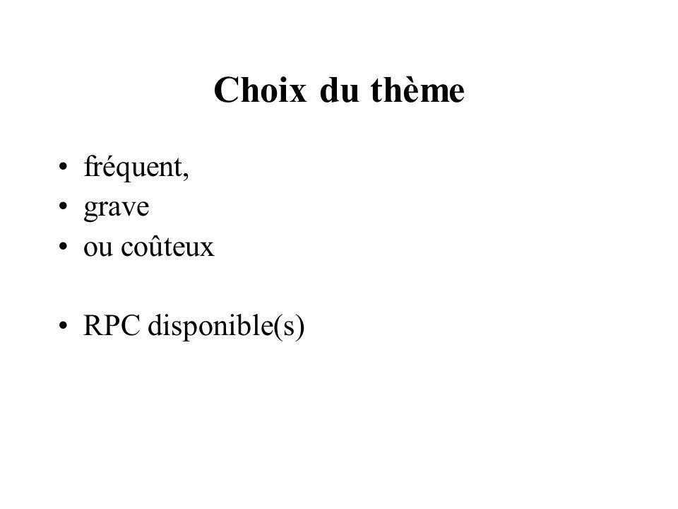 Choix du thème fréquent, grave ou coûteux RPC disponible(s)
