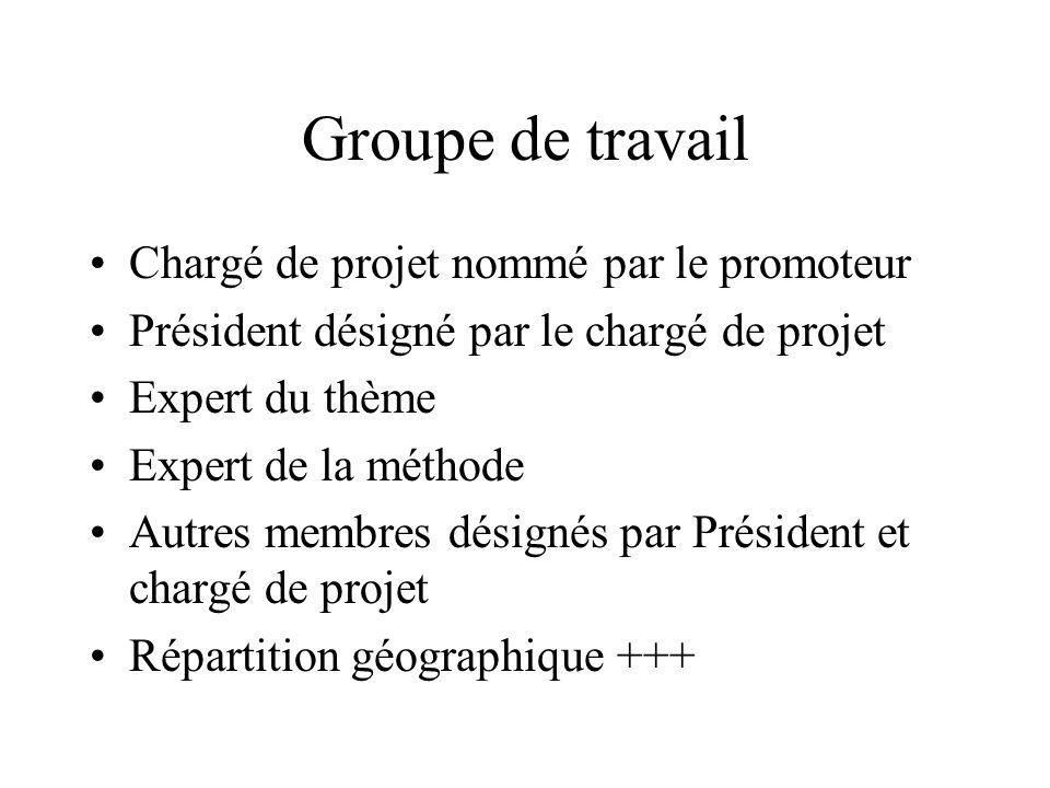Groupe de travail Chargé de projet nommé par le promoteur Président désigné par le chargé de projet Expert du thème Expert de la méthode Autres membres désignés par Président et chargé de projet Répartition géographique +++