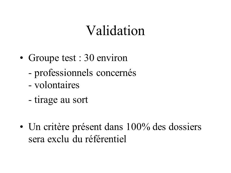 Validation Groupe test : 30 environ - professionnels concernés - volontaires - tirage au sort Un critère présent dans 100% des dossiers sera exclu du référentiel