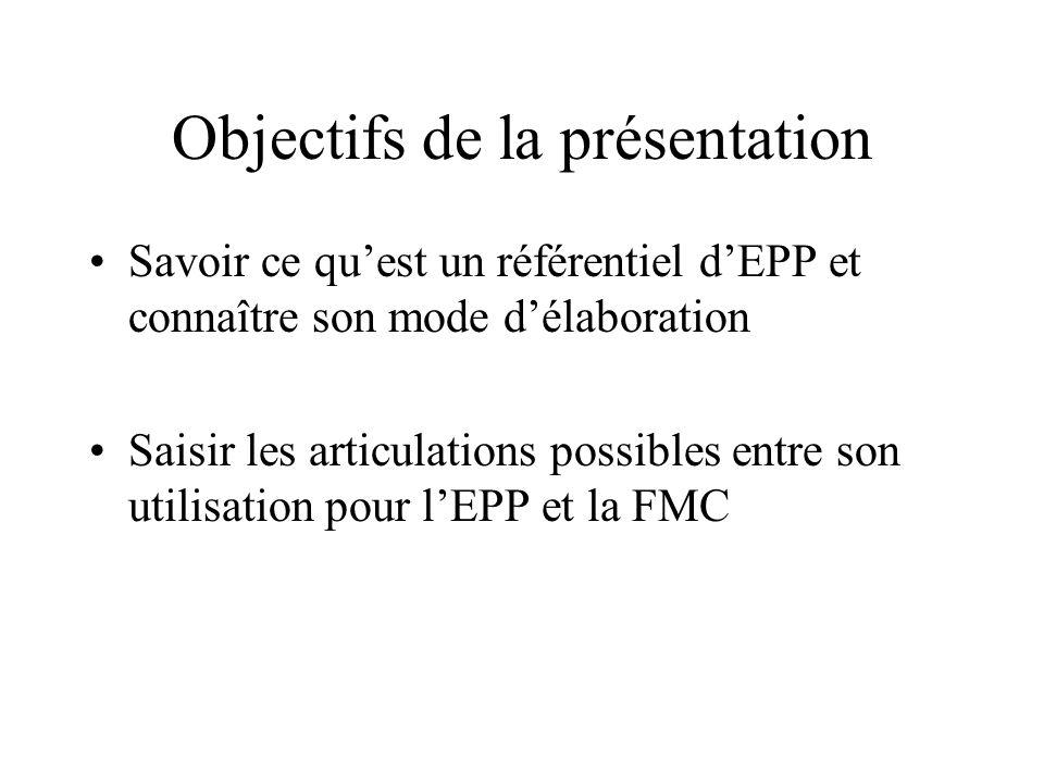 Objectifs de la présentation Savoir ce quest un référentiel dEPP et connaître son mode délaboration Saisir les articulations possibles entre son utilisation pour lEPP et la FMC
