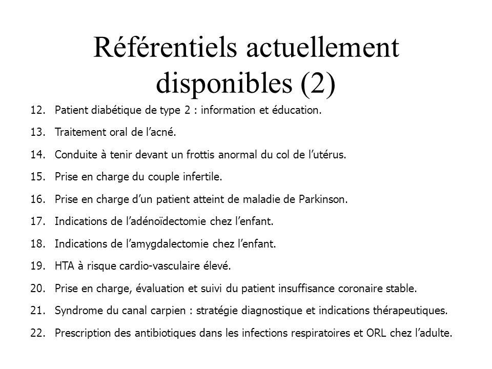 Référentiels actuellement disponibles (2) 12.Patient diabétique de type 2 : information et éducation.