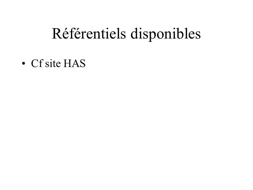 Référentiels disponibles Cf site HAS