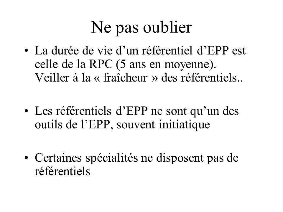 Ne pas oublier La durée de vie dun référentiel dEPP est celle de la RPC (5 ans en moyenne).