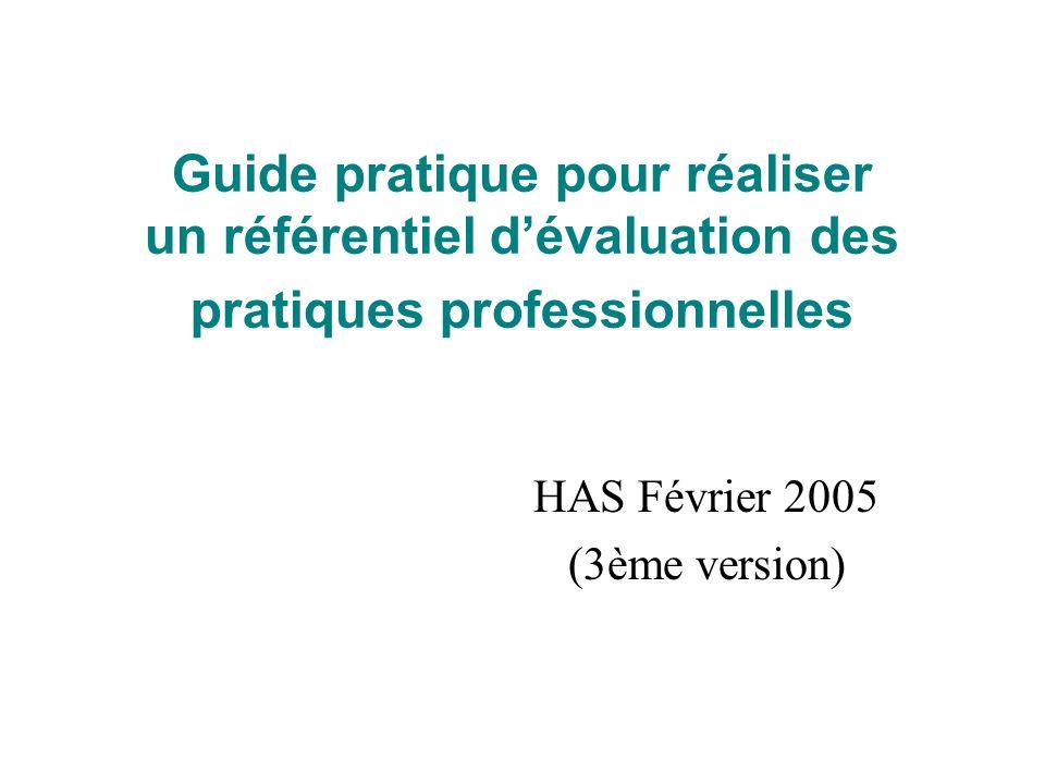 Guide pratique pour réaliser un référentiel dévaluation des pratiques professionnelles HAS Février 2005 (3ème version)