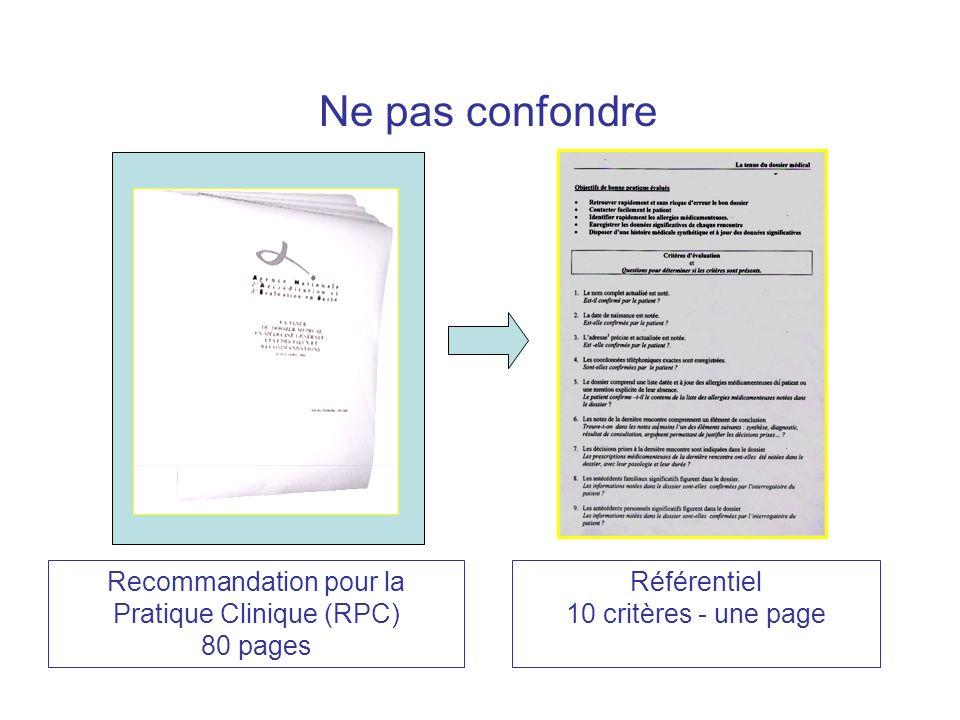 Recommandation pour la Pratique Clinique (RPC) 80 pages Référentiel 10 critères - une page Ne pas confondre