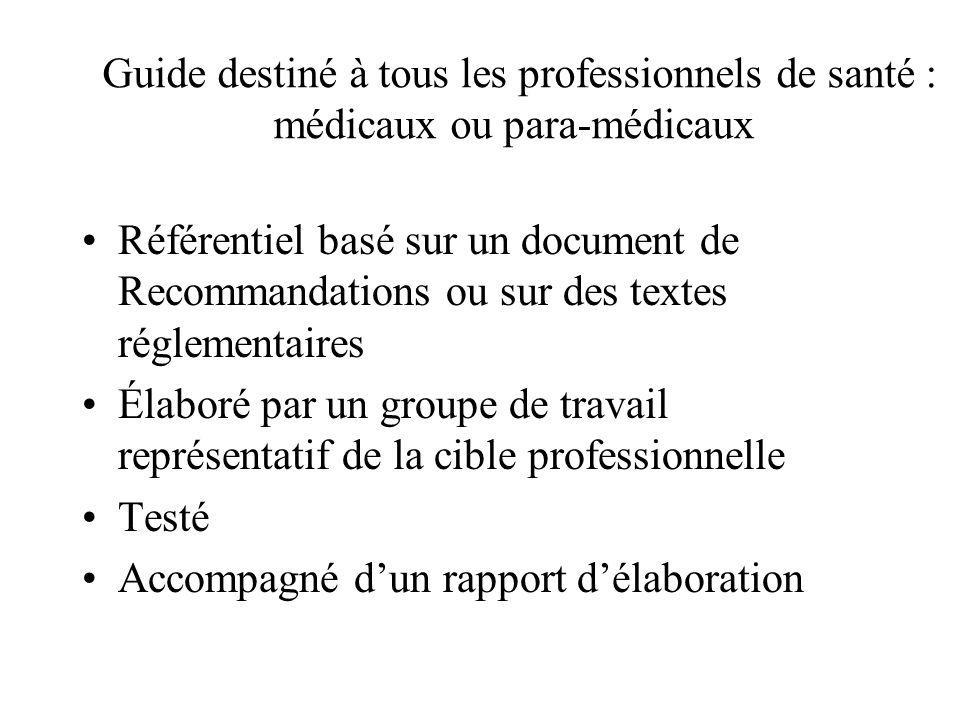 Guide destiné à tous les professionnels de santé : médicaux ou para-médicaux Référentiel basé sur un document de Recommandations ou sur des textes réglementaires Élaboré par un groupe de travail représentatif de la cible professionnelle Testé Accompagné dun rapport délaboration
