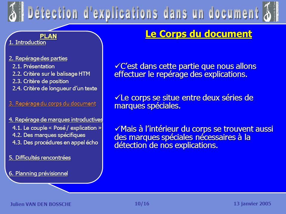 Julien VAN DEN BOSSCHE PLAN Le Corps du document Cest dans cette partie que nous allons effectuer le repérage des explications. Cest dans cette partie