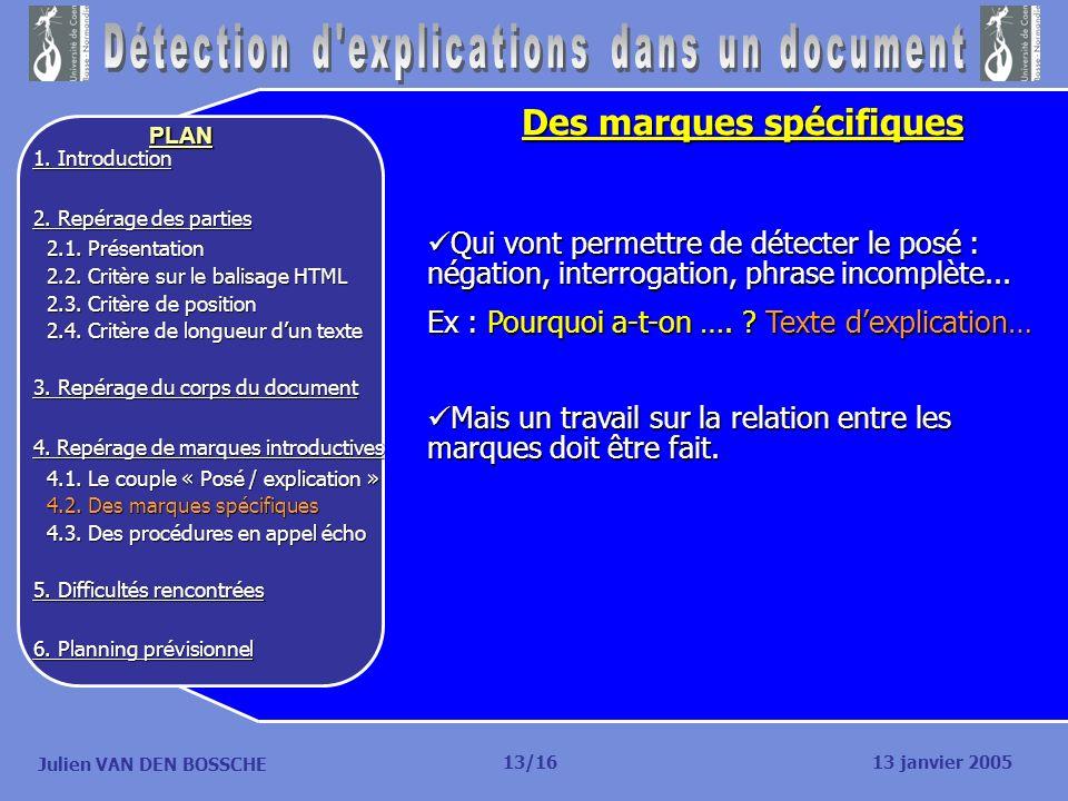 Julien VAN DEN BOSSCHE PLAN Des marques spécifiques Qui vont permettre de détecter le posé : négation, interrogation, phrase incomplète... Qui vont pe