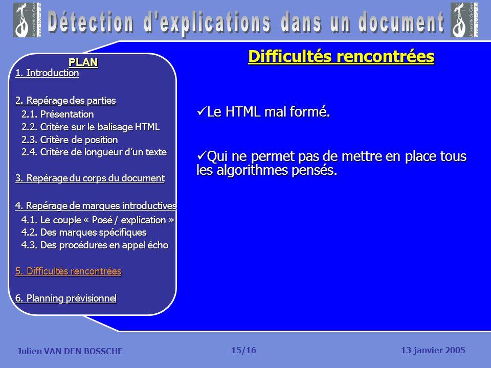 Julien VAN DEN BOSSCHE PLAN Difficultés rencontrées Le HTML mal formé. Le HTML mal formé. Qui ne permet pas de mettre en place tous les algorithmes pe