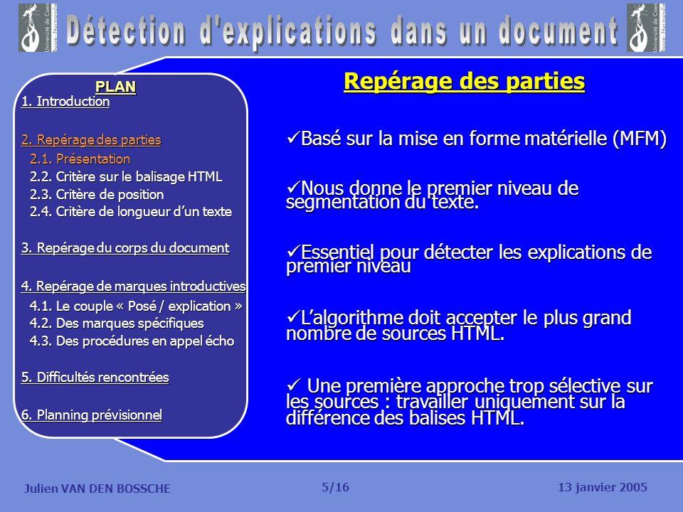 Julien VAN DEN BOSSCHE PLAN Planning prévisionnel Détecter lunité de base : 1 semaine (17 – 23 janvier).